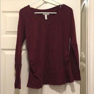 Long sleeve Maroon maternity shirt